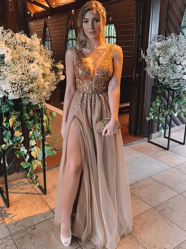 A-Line Sleeveless V-neck Floor-Length Rhinestone Tulle Dresses