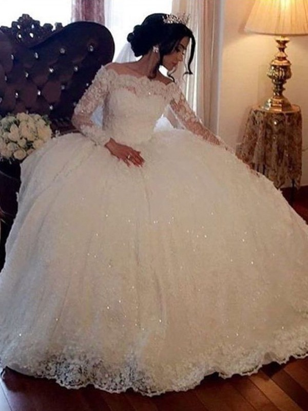 Ball Gown Bateau Long Sleeves Floor-Length Lace Tulle Wedding Dresses