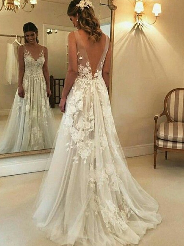 A-Line V-neck Sleeveless Sweep/Brush Train Applique Tulle Wedding Dresses