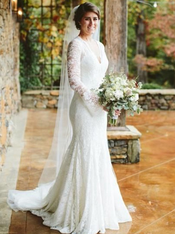 Mermaid V-neck Long Sleeves Sweep/Brush Train Ruffles Lace Wedding Dresses