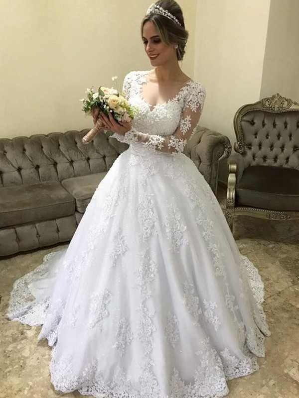 Ball Gown V-neck Long Sleeves Sweep/Brush Train Applique Satin Wedding Dresses