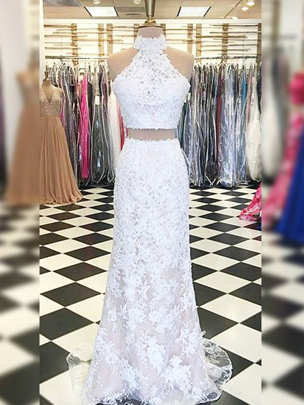 Sheath/Column Lace Halter Sleeveless Sweep/Brush Train Two Piece Dresses With Applique