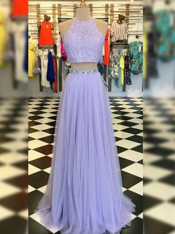 A-Line Tulle Lace Halter Sleeveless Sweep/Brush Train Two Piece Dresses