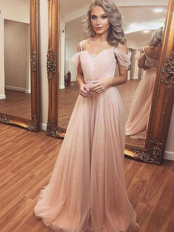 A-Line Tulle Ruched Off-the-Shoulder Sleeveless Sweep/Brush Train Dresses