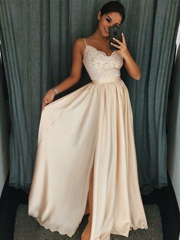 A-Line Sleeveless Spaghetti Straps Floor-Length Applique Silk like Satin Dresses
