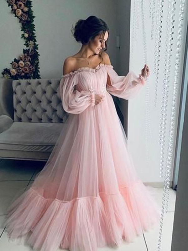 A-Line/Princess Off-the-Shoulder Long Sleeves Tulle Floor-Length Applique Dresses