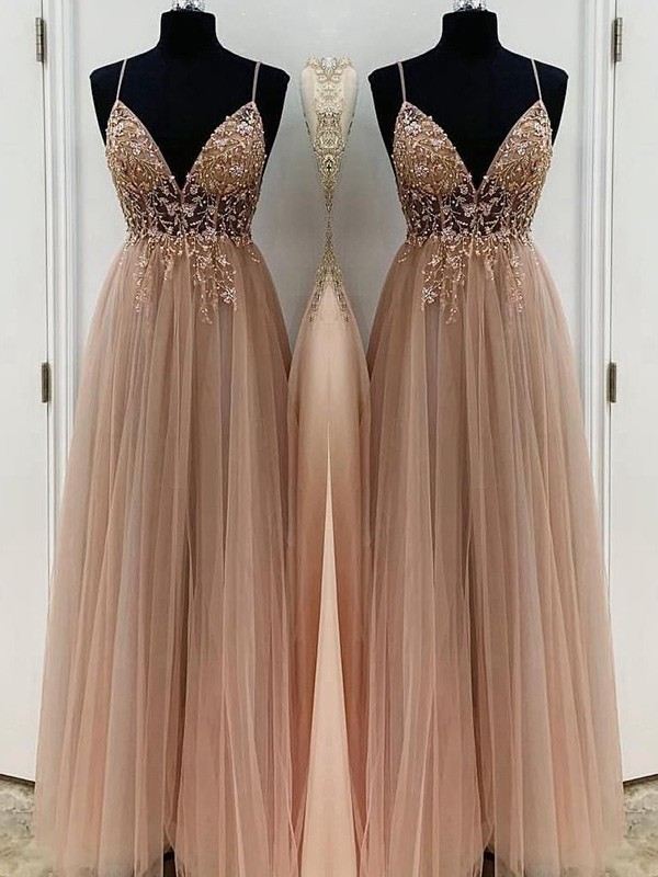 A-Line/Princess Spaghetti Straps Sleeveless Beading Floor-Length Tulle Dresses
