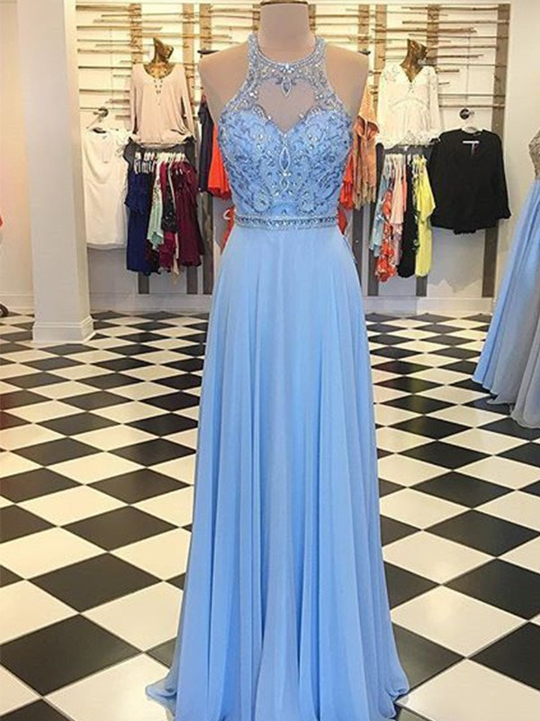 A-Line/Princess Halter Sleeveless Chiffon Floor-Length Beading Dresses