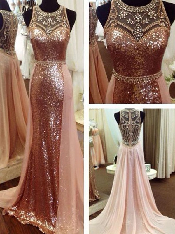 A-Line/Princess Scoop Sleeveless Beading Sweep/Brush Train Sequins Dresses