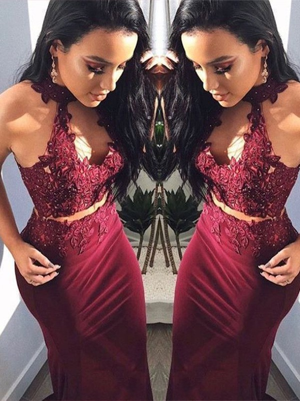 Sheath/Column Sleeveless Floor-Length Applique Spandex Halter Two Piece Dresses