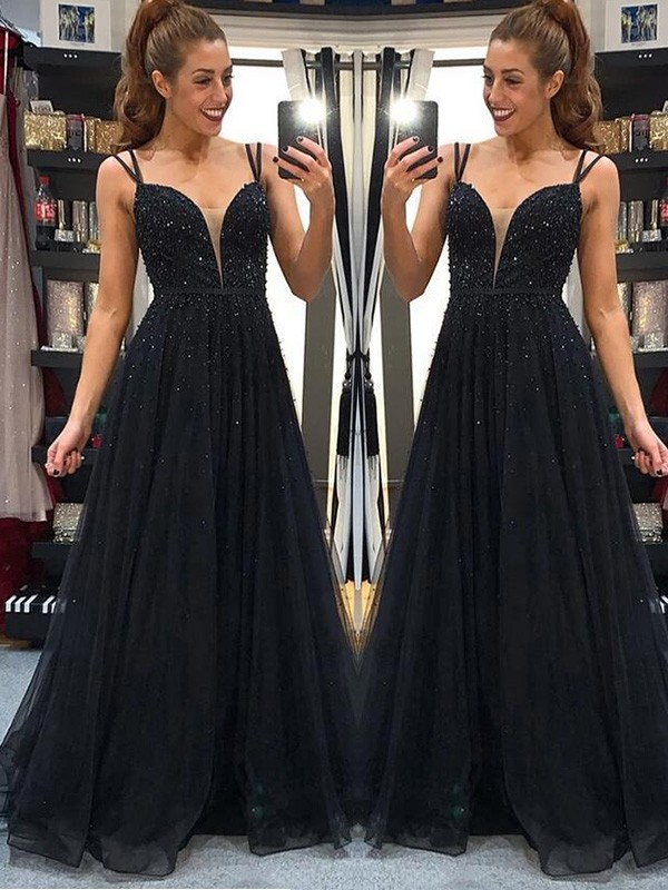 A-Line/Princess Beading Floor-Length Tulle Sleeveless Spaghetti Straps Dresses