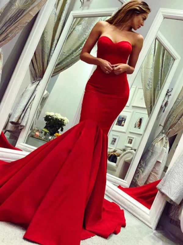 Trumpet/Mermaid Court Train Satin Ruffles Sleeveless Strapless Dresses