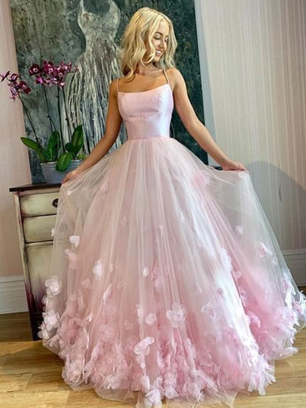 A-Line/Princess Applique Floor-Length Bateau Sleeveless Tulle Dresses