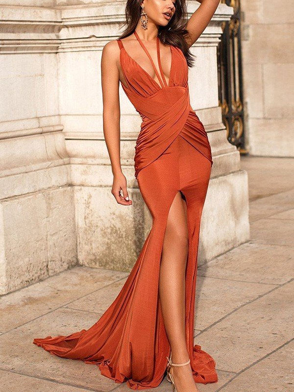 Trumpet/Mermaid Satin V-neck Ruched Sweep/Brush Train Sleeveless Dresses