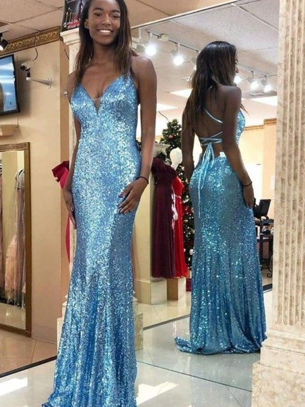 Sweep/Brush Train Trumpet/Mermaid V-neck Sleeveless Ruffles Sequins Dresses