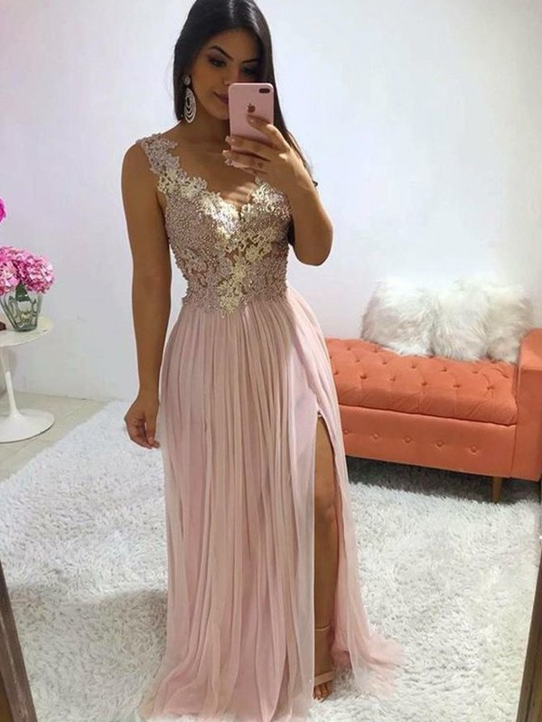 V-neck A-Line/Princess Sleeveless Applique Sweep/Brush Train Chiffon Dresses