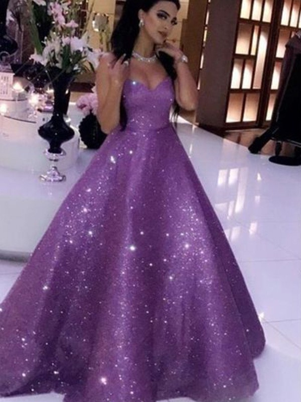 Sweep/Brush Train Ball Gown Sleeveless Sweetheart Ruffles Sequins Dresses