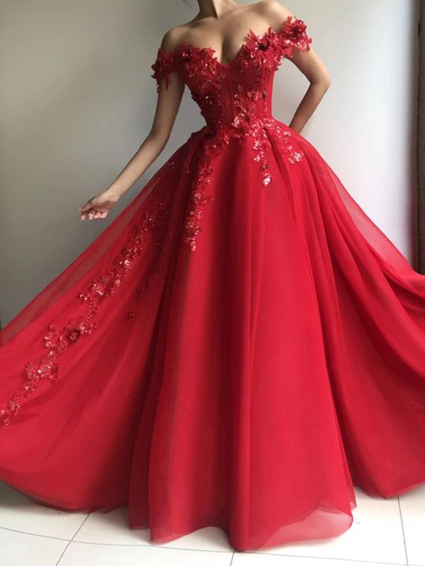 Floor-Length A-Line/Princess Sleeveless Off-the-Shoulder Applique Tulle Dresses