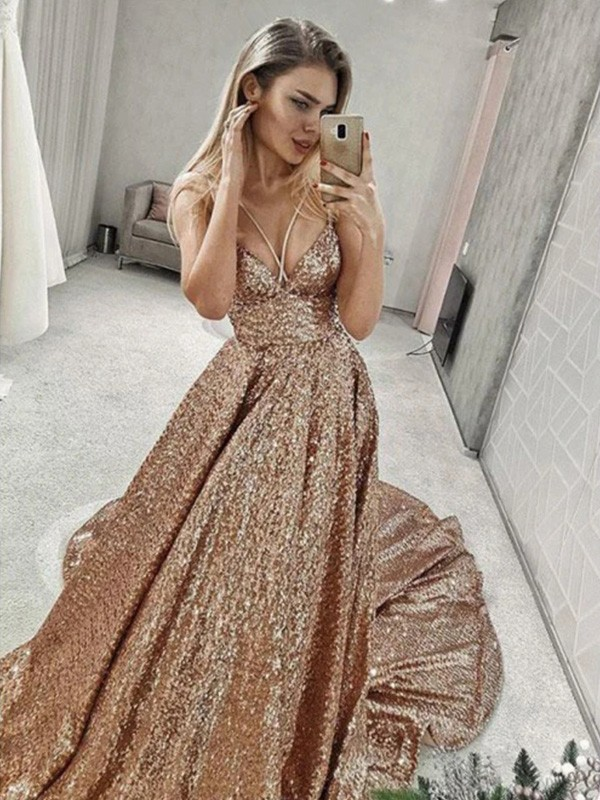 Court Train A-Line/Princess Ruffles Spaghetti Straps Sleeveless Sequins Dresses