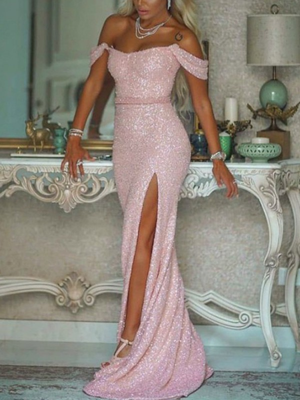 Sweep/Brush Train Trumpet/Mermaid Sleeveless Sequins Sash/Ribbon/Belt Off-the-Shoulder Dresses