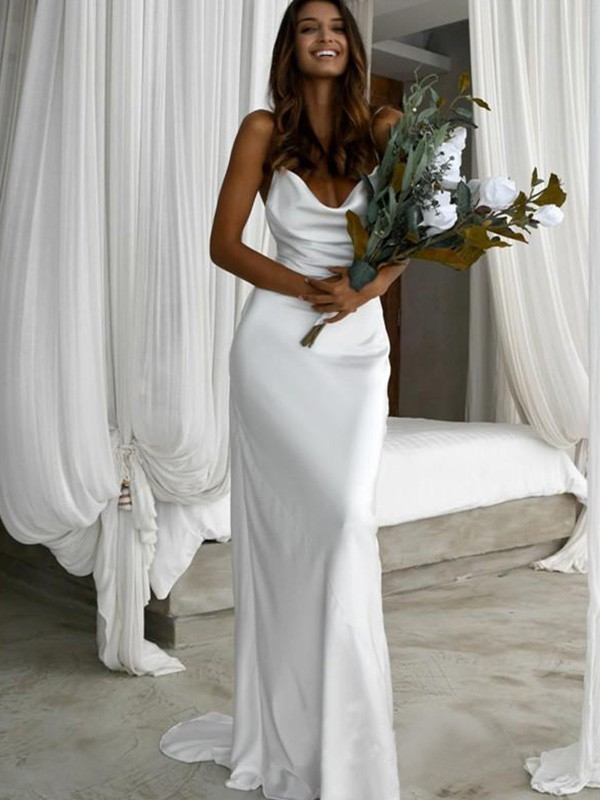 Sheath/Column Sleeveless Ruched Sweep/Brush Train Silk like Satin Spaghetti Straps Wedding Dresses