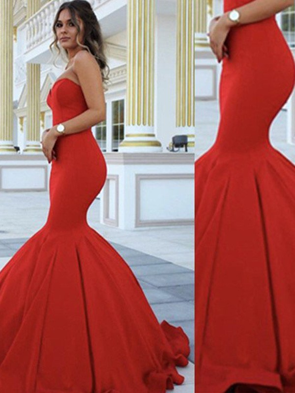 Trumpet/Mermaid Sweetheart Sleeveless Sweep/Brush Train Satin Dresses