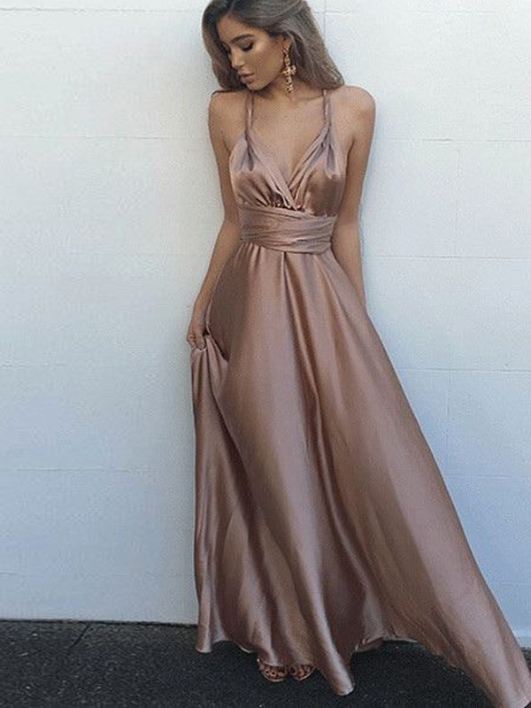A-Line Sleeveless Spaghetti Straps Silk like Satin Floor-Length Sash/Ribbon/Belt Dresses