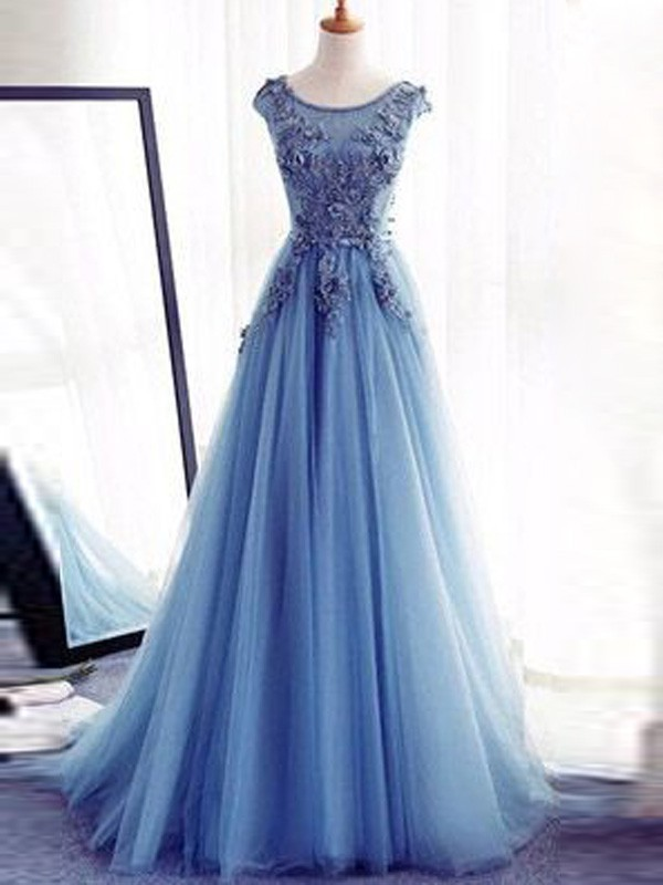 Ball Gown Sleeveless Jewel Sweep/Brush Train Tulle Dresses With Applique