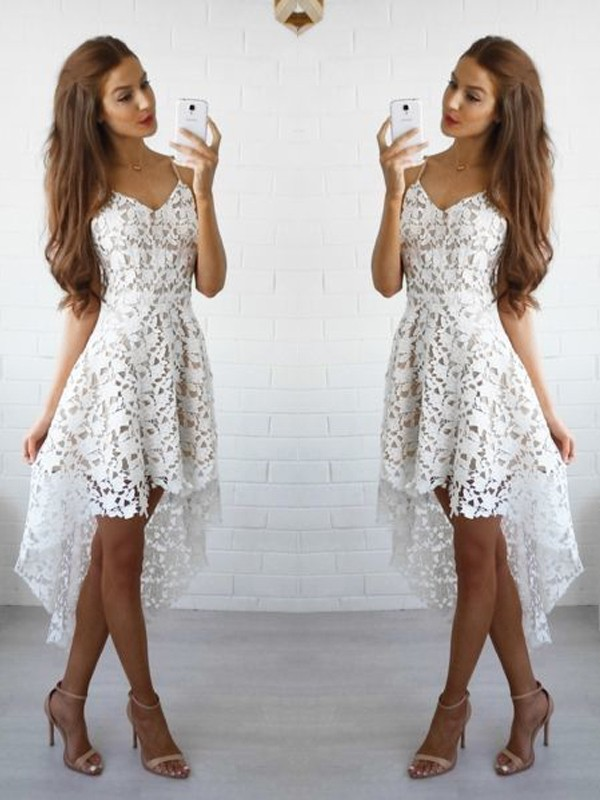 A-Line/Princess Sleeveless Spaghetti Straps Lace Short/Mini Dresses
