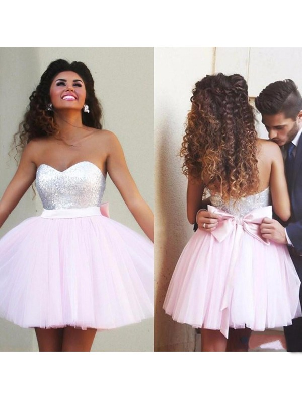 A-Line/Princess Sleeveless Sweetheart Beading Tulle Short/Mini Dresses