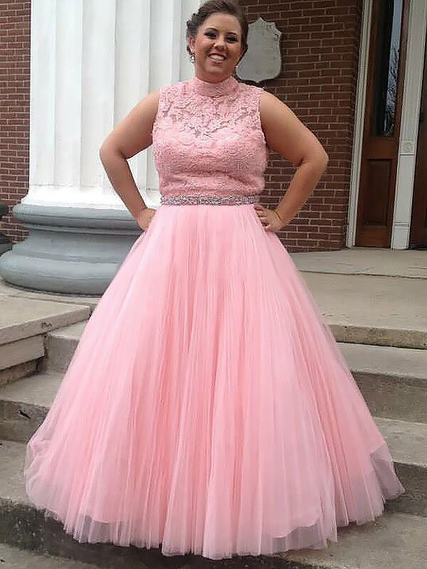 Ball Gown High Neck Tulle Applique Sleeveless Floor-Length Plus Size Dresses