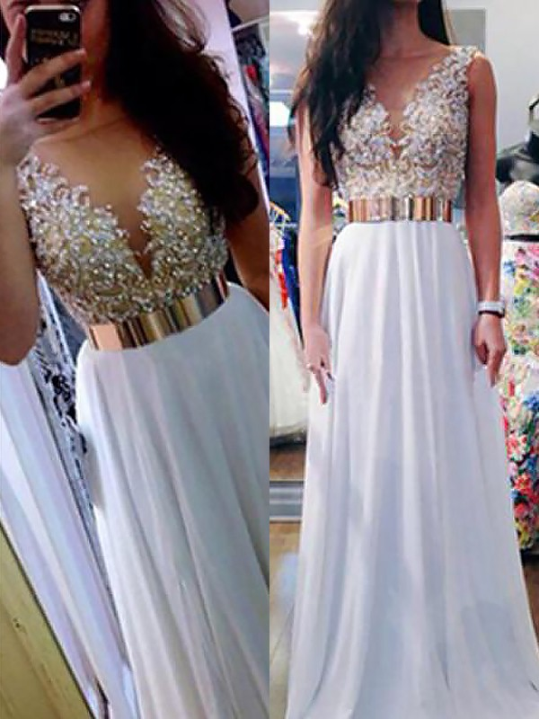 A-Line V-neck Sleeveless Floor-Length Beading Chiffon Dresses