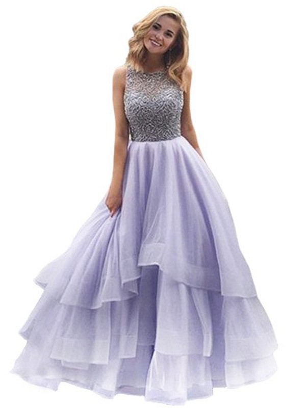 Ball Gown Scoop Sleeveless Floor-Length Beading Organza Dresses