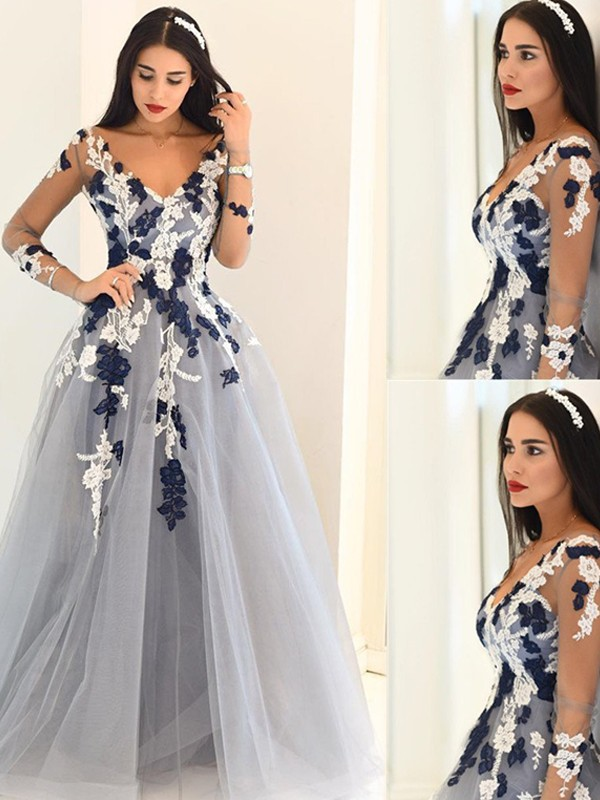 A-Line/Princess V-Neck Long Sleeves Tulle Floor-Length Dresses With Applique