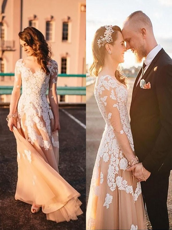 A-Line Tulle V-neck Long Sleeves Lace Sweep/Brush Train Wedding Dresses