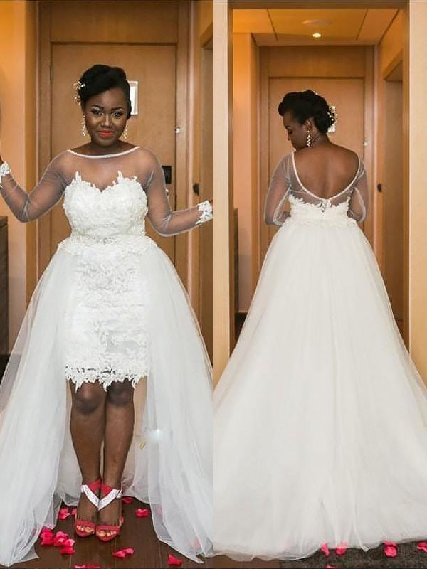 A-Line Scoop Court Train Tulle Long Sleeves Wedding Dresses