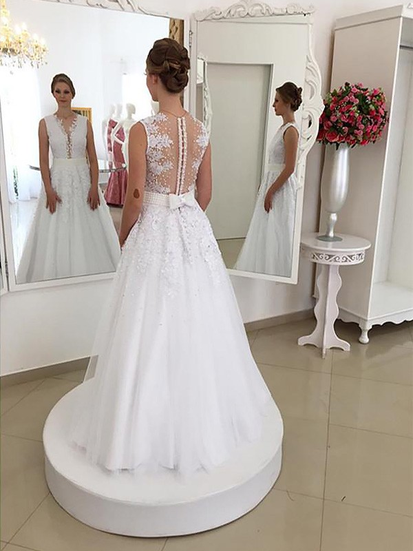Mermaid Sleeveless Lace Scoop Floor-Length Wedding Dresses