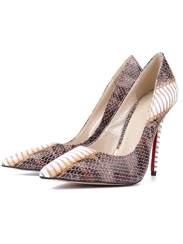 Women's Snake Print PU Closed Toe Stiletto Heel High Heels