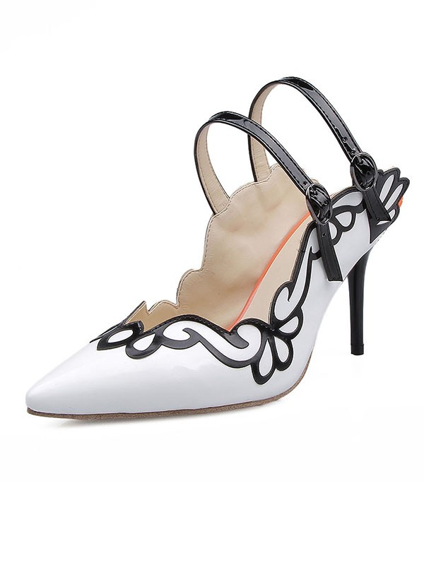 Women's Patent Leather Closed Toe With Buckle Stiletto Heel Sandals Shoes