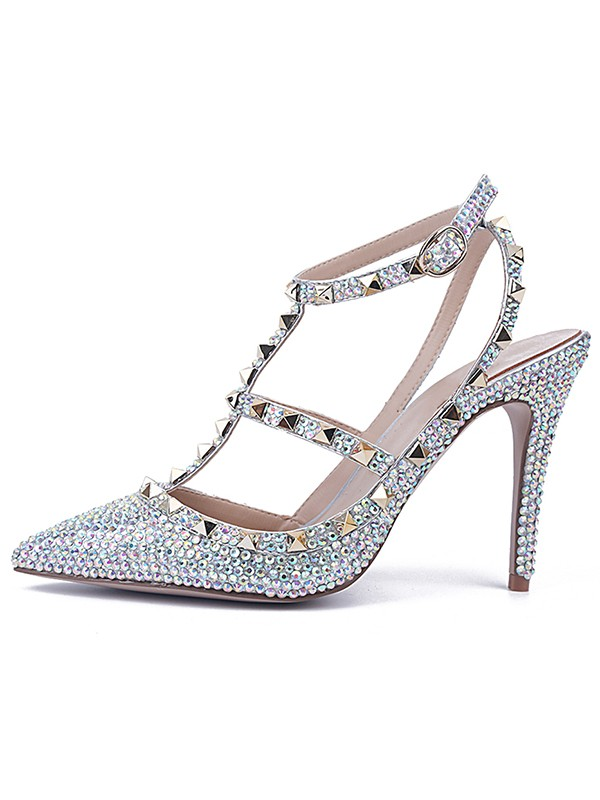 Women's Stiletto Heel Patent Leather Closed Toe With Rhinestone Sandals Shoes