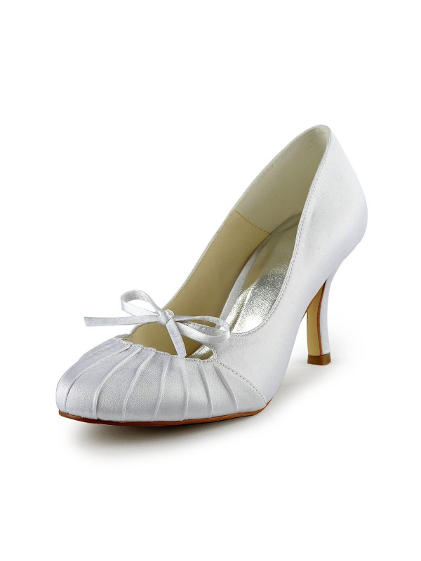 Women's Satin Stiletto Heel Closed Toe Pumps White Wedding Shoes With Bowknot Ruched