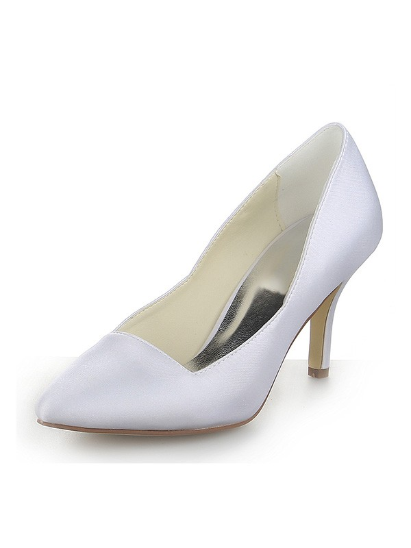 Women's Closed Toe Satin Stiletto Heel Dress White Wedding Shoes