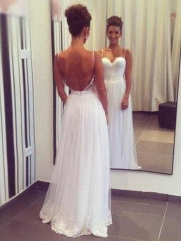 A-Line Sweetheart Floor-Length Sleeveless Tulle Wedding Dress