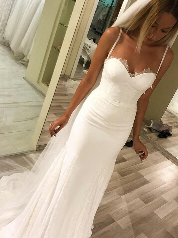 Sheath Sweetheart Spaghetti Straps Sleeveless Sweep/Brush Train Satin Wedding Dress