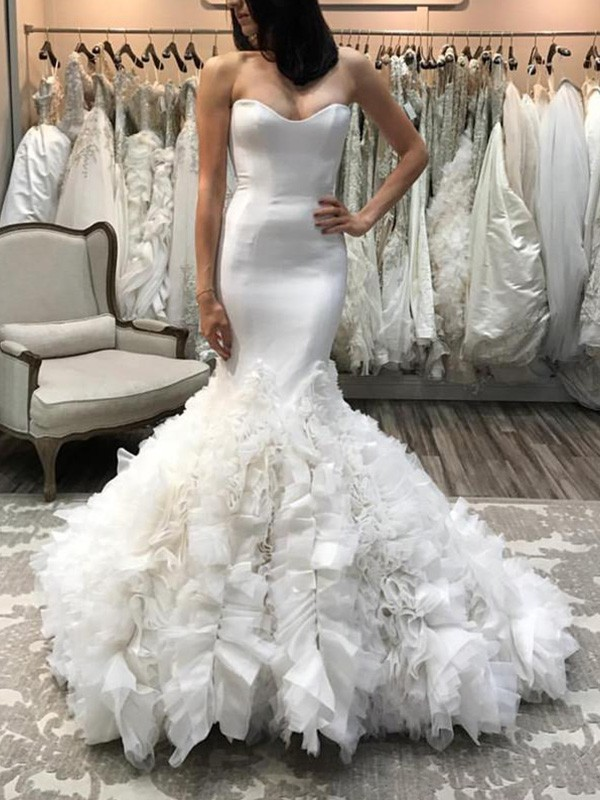 Mermaid Sweetheart Sleeveless Court Train Organza Wedding Dress
