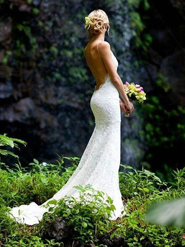 Sheath Sleeveless V-neck Spaghetti Straps Court Train Lace Wedding Dress