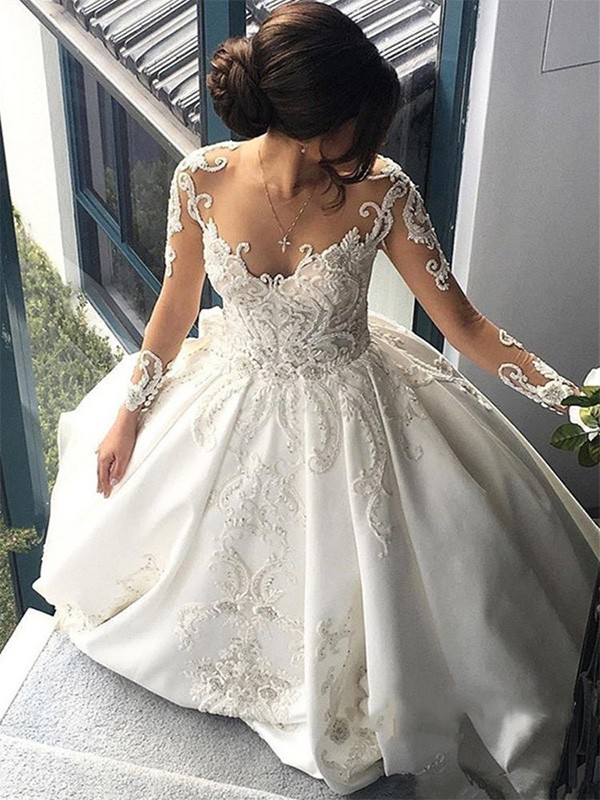 Affordable Ball Gown Scoop Long Sleeves Cathedral Train Satin Wedding Dress