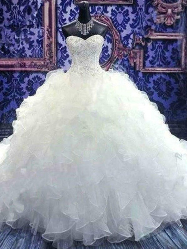 Ball Gown Sleeveless Sweetheart Chapel Train Sequin Organza Wedding Dress
