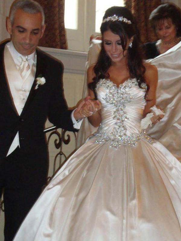 Ball Gown Satin Sweetheart Sleeveless Cathedral Train Wedding Dress
