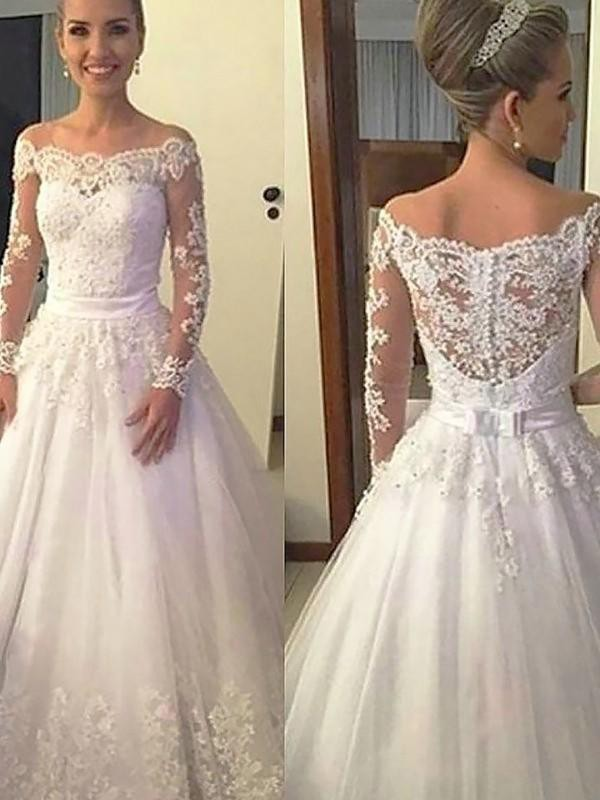 Ball Gown Tulle Off-the-Shoulder Long Sleeves Court Train Wedding Dress